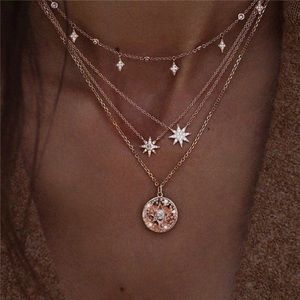Boho Multilayer Star, Crystal, and Pearl Necklace
